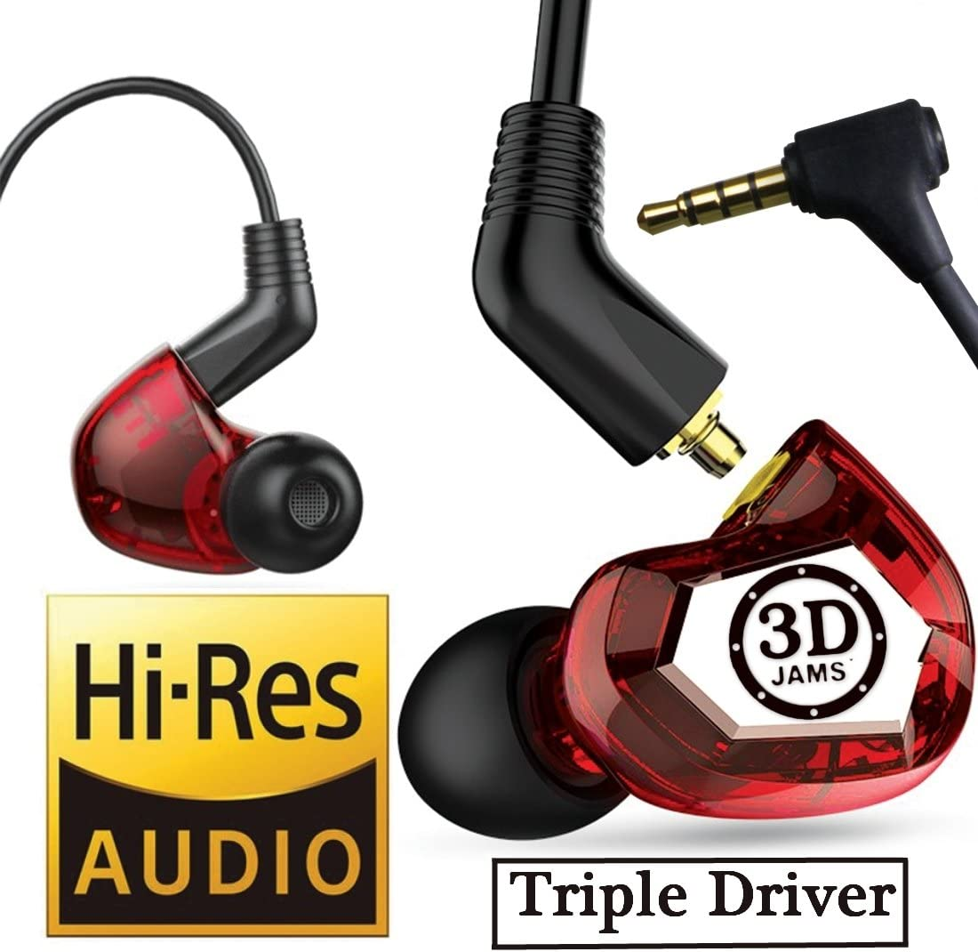 3D JAMS in Ear Monitor Earphones. Triple Driver Headphones with Mic. Wide Lifelike Surround Sound Earbuds. Deep Bass.