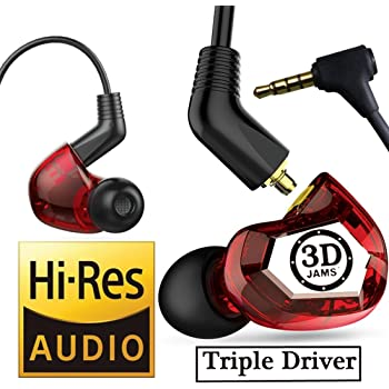 3D JAMS in Ear Monitor Earphones. Audiophile Grade. New Patented Technology. 3D Wide Open Lifelike Sound Earbuds. Triple Driver Headphones with Mic.