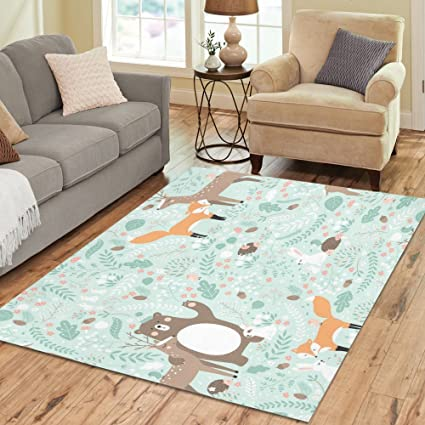 InterestPrint Forest Animal Green Area Rugs Carpet 7 X 5 Feet, Fox Deer  Tree Modern