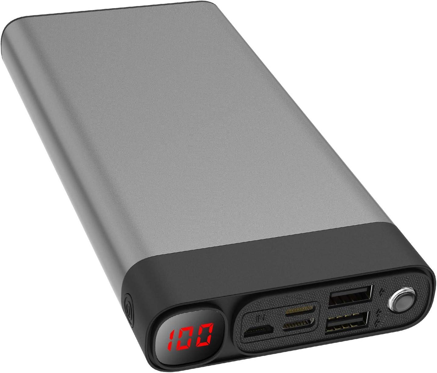 Portable Charger 30000mAh 2USB Ports/Super Bright Flashlight Portable Charger Quick Charge Phone Pad (Black 30000mAh)