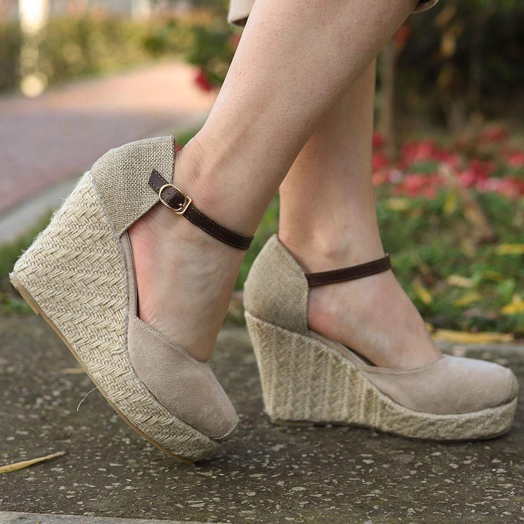 Midress Sandals Women Fashion Flock Wedges High Ankle Outdoor Sandals Round Toe Casual Basic Shoes