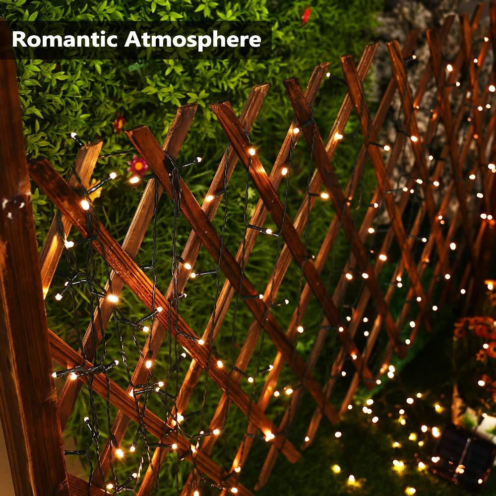 Haus Hochzeit Yard Weihnachten Warmwei/ß Solar Lichterkette Aussen BrizLabs 22M 200 LED Solarlichterkette Wasserdicht Au/ßenlichterkette 8 Modi Solar Beleuchtung Deko f/ür Garten Terrasse