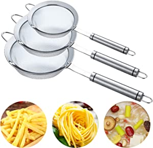 3pcs Fine Mesh Large Stainless Steel Strainers Set - Kitchen Food Fine Mesh Strainer Colanders Sieve Sifters with Comfortable Non Slip Handles…