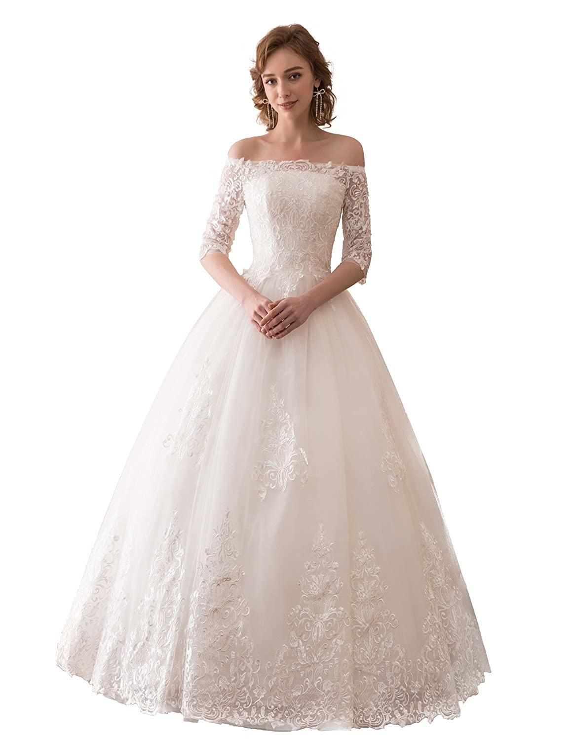 a3eb36dceb69 YIRENWANSHA White Lace Long Sleeves Off Shoulder Strapless A Line Wedding  Dresses Floor Length Evening Formal Gown WD121 at Amazon Women s Clothing  store