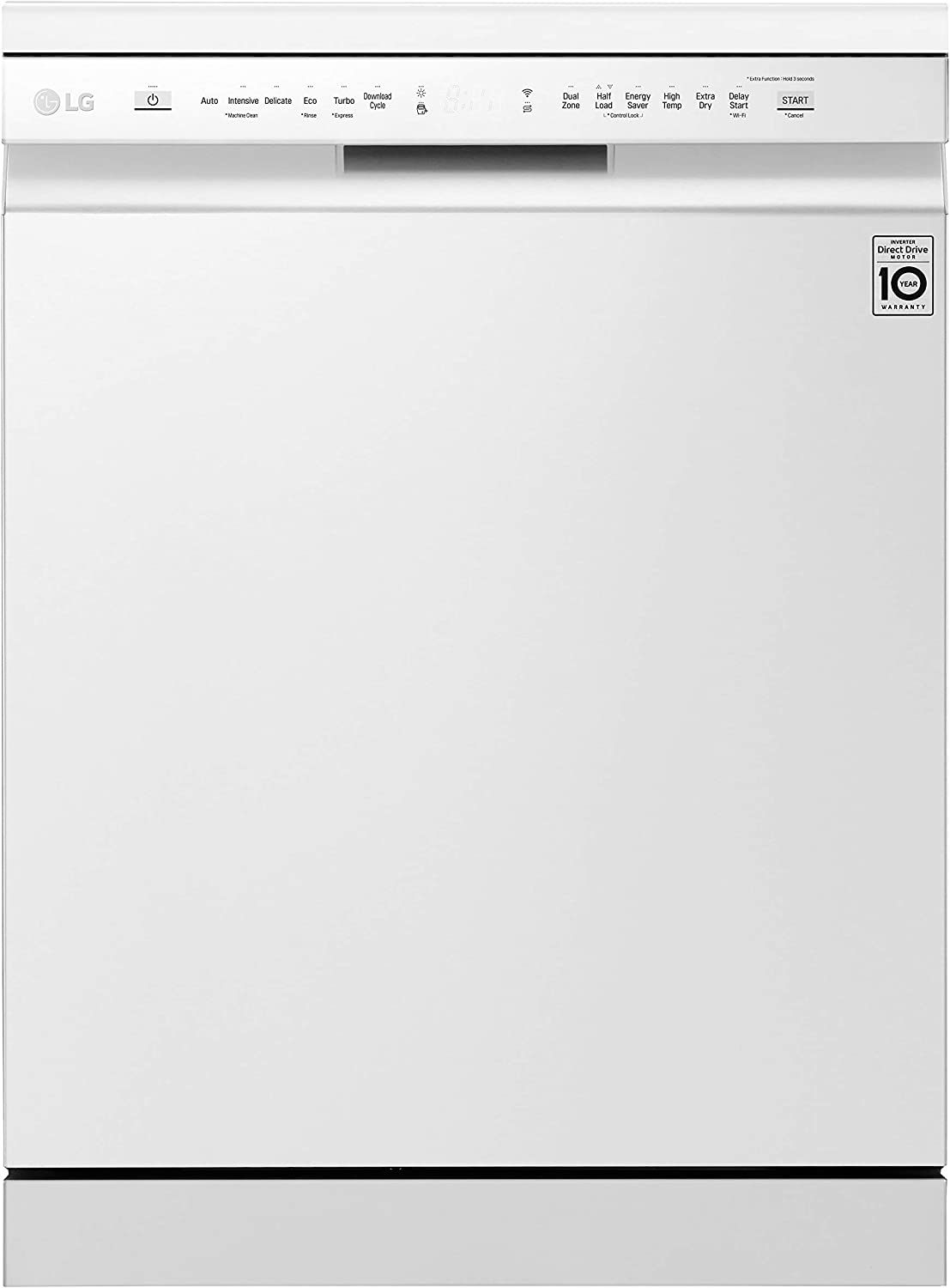 LG QuadWash DF325FW - Lavavajillas con motor Inverter Direct Drive, eficiencia A++, con tercera bandeja de cubiertos - Color blanco