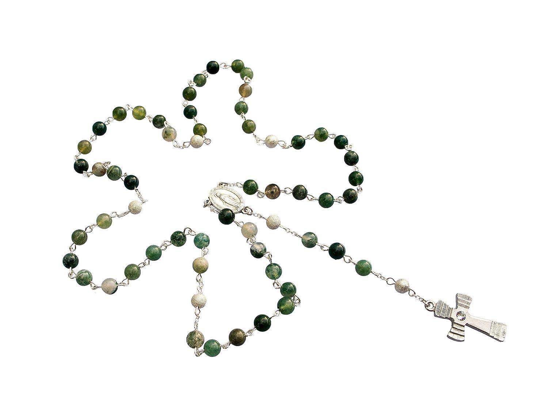 großer Rosenkranz gefertigt aus echtem Moosachat mit 59 Perlen. Die Lieferung erfolgt mit dem Kreuz Nr. 1 (siehe Details), sehr Edel, jeder Rosenkranz ein Unikat wie alle unsere Rosenkränze aus eigener Herstellung Zinngeschenke