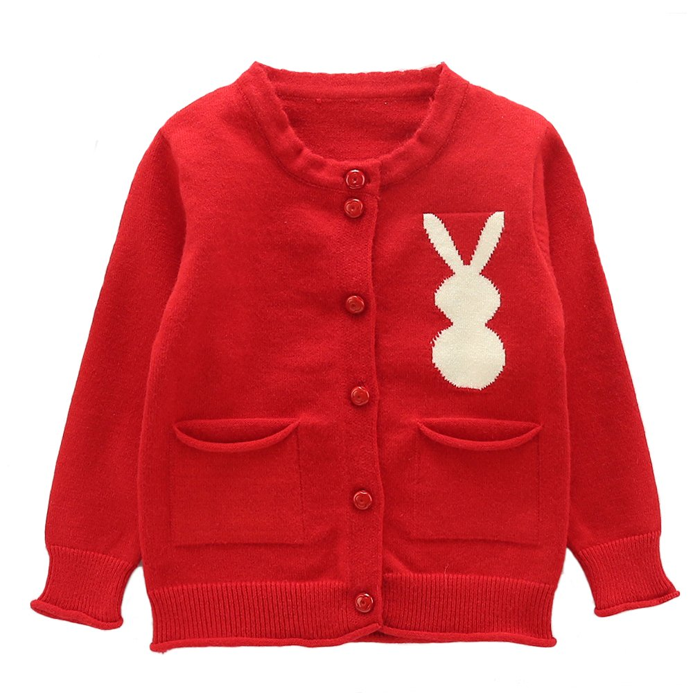 Moonnut Little Girls' Cute Rabbit Knit Cardigan Sweater (Baby/Toddler)