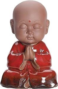 WAARTA Baby Meditating Buddha Statue | Zen Garden Buddha Statues for Home Decor | Ceramic Buddhist Monk Meditation Decor | Asian Zen Hindu Decoration Figurine Buddha Decor | Red