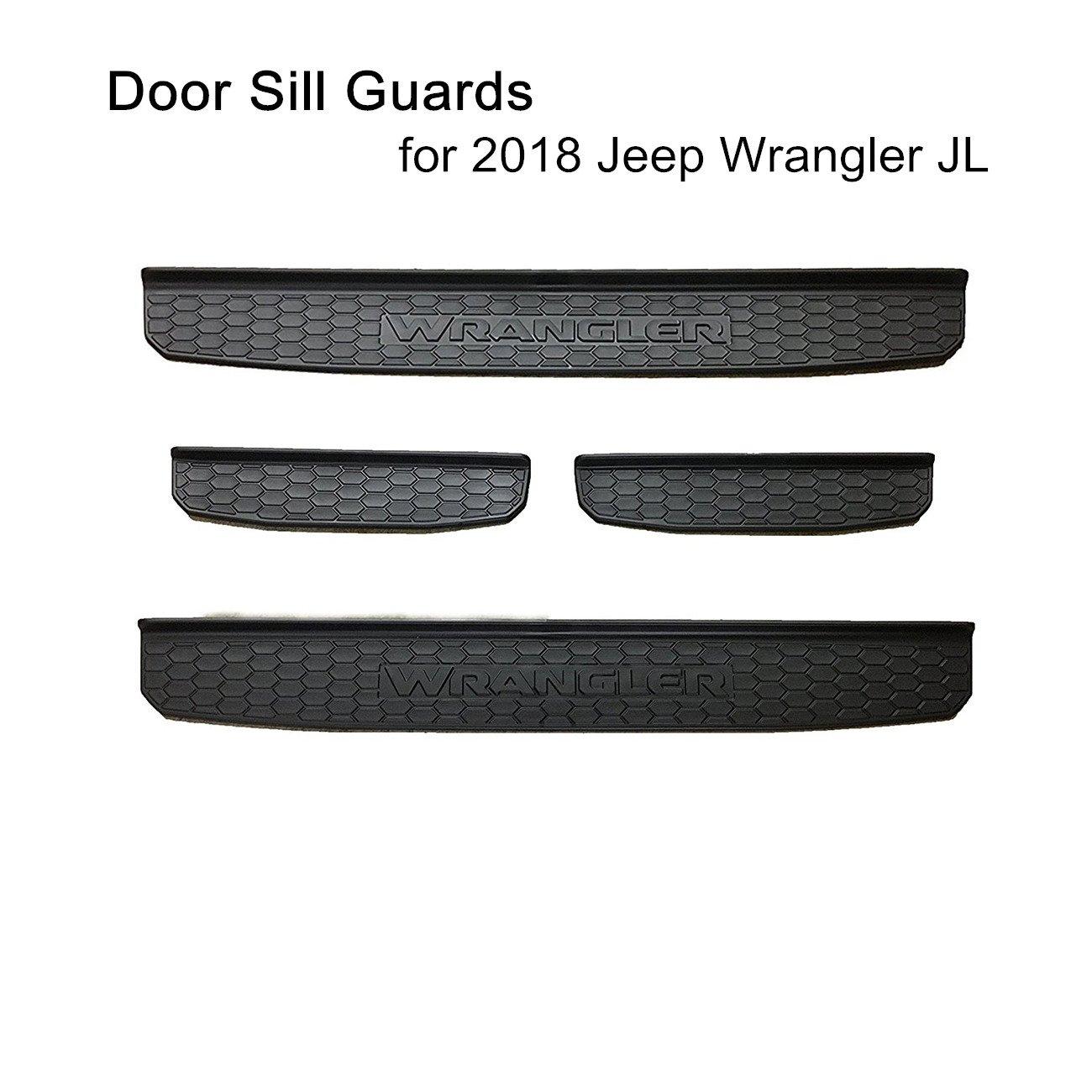SXMA 2018 Jeep Wrangler Black Door Sill Guards,4-Door Plastic Black 4-Door JL Models SXMA Group