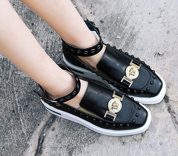 Easemax Damen Fashionable Durchgängiges Plateau Quadrate Zehen Nieten Schnalle Metall Sneakers Schwarz 39 EU BXi15ZUQw