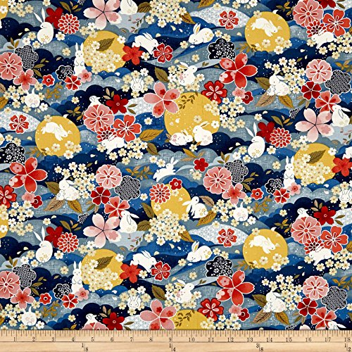 Fabri-Quilt The Moon Rabbit Oriental Floral Blue/Multi Fabric by The Yard, Multicolor