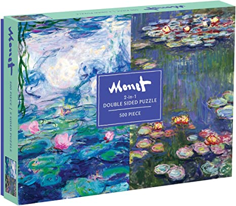 Galison Monet 500 Piece Double Sided Jigsaw Puzzle for Adults and Families, Classic Art Puzzle with Art from Monet on Both Sides