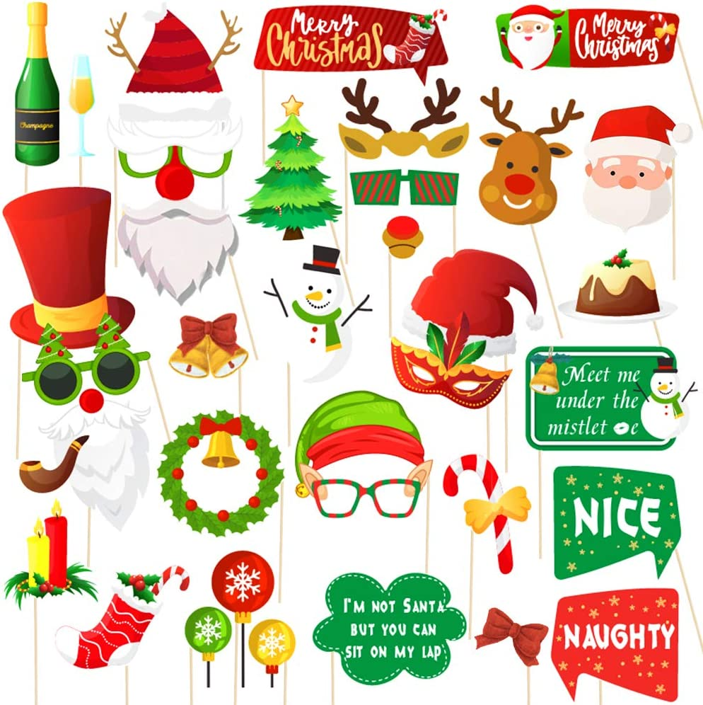 Christmas Photo Booth Props 34pc Artist Rendered Christmas Games for Party Supplies DIY Funny Xmas Selfei Props Accessories for Christmas Theme Party Favors Decorations Decor Supplies with Sticks