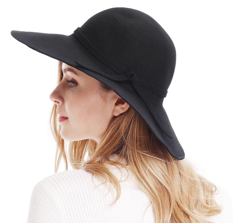 28159bf5 Bienvenu Women's Wide Brim Wool Ribbon Band Floppy Hat Black at Amazon  Women's Clothing store: