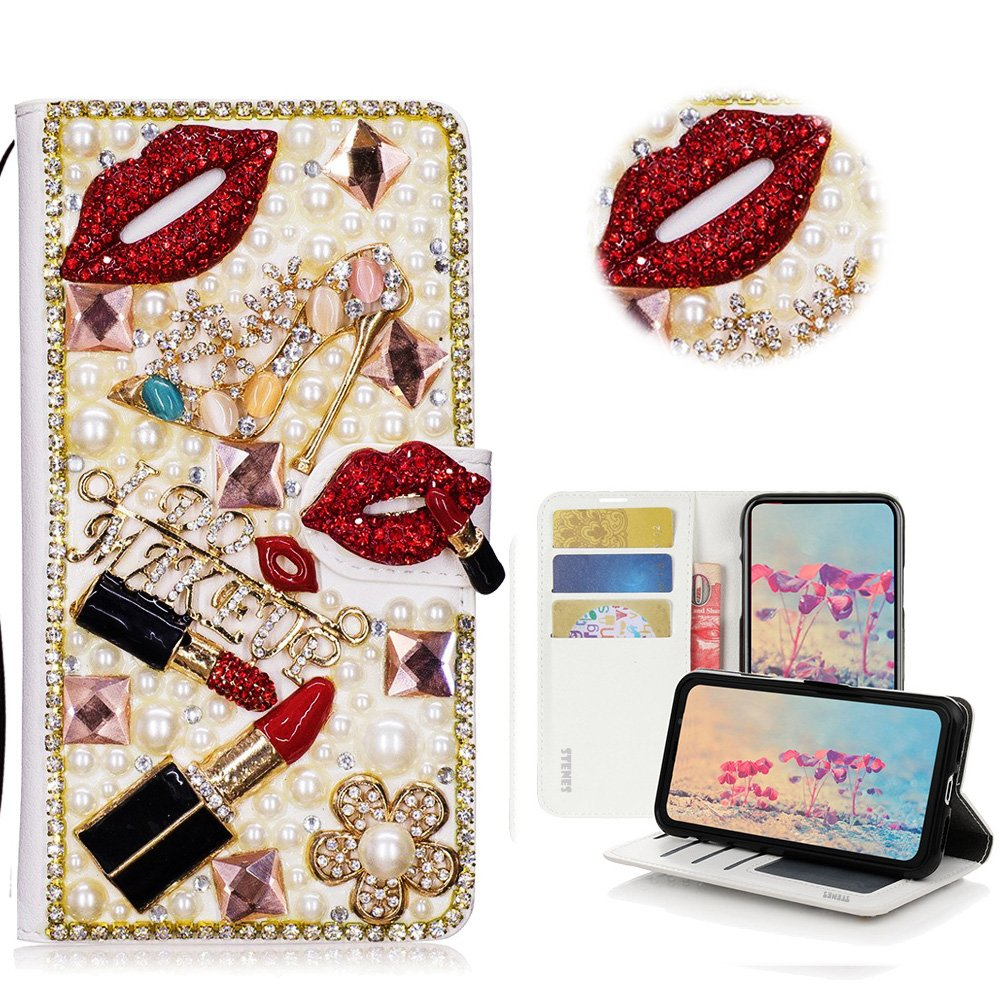 STENES LG Q Stylus Case - Stylish - 3D Handmade Crystal Lipstick Girls High Heel Flowers Magnetic Wallet Credit Card Slots Fold Stand Leather Cover for LG Q Stylus/Q Stylus+/ Q Stylus Alpha - Red