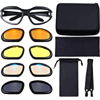 Polarized Motorcycle Riding Glasses Padded Glasses Frame Goggle Kit Include 4 Lens Kit, Glasses Case, Strap, Pouch, and…