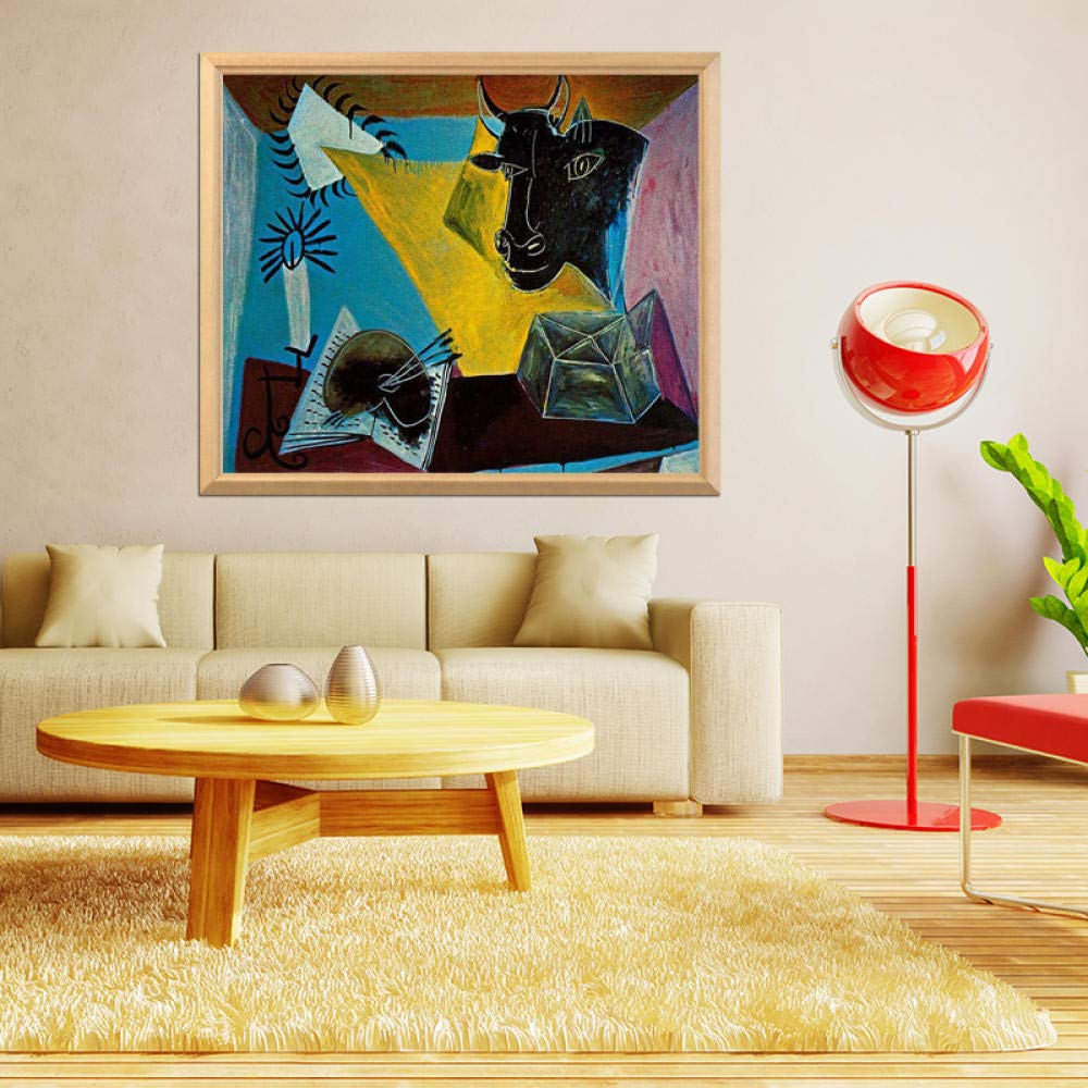 Pintura Famosa De Pablo PicassoVelas De Libro Y Cabezas De Toro 5D Diy Diamante Pintura Completo Diamante Bordado Imagen 25x30cm (Sin marco)