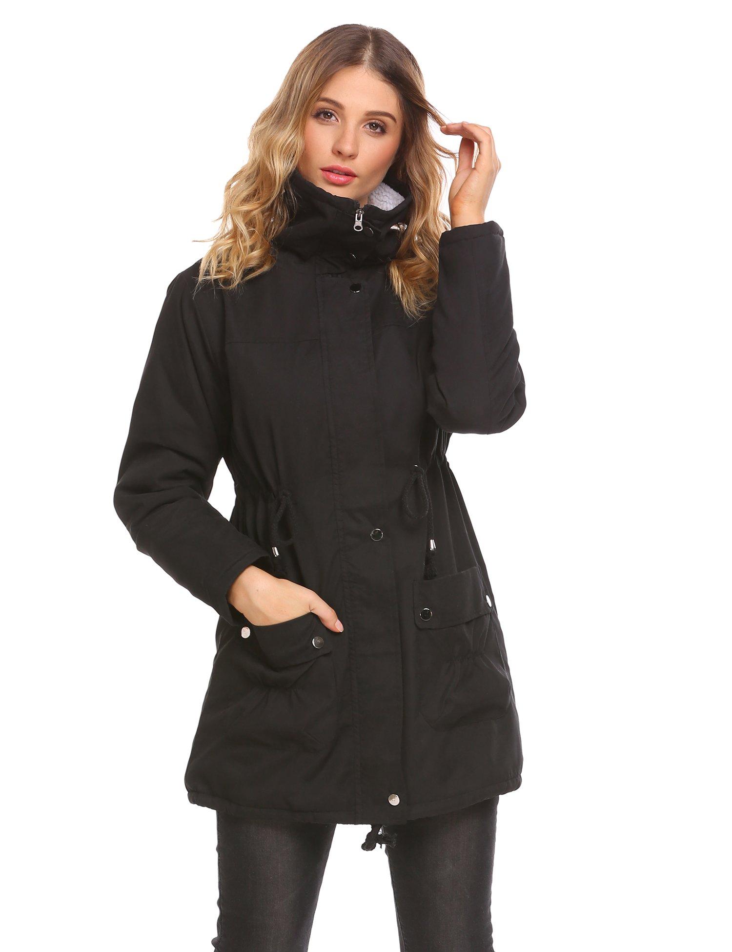 Elesol Women Winter Parka Coat Faux Fur Coat Fleece Lined Parkas With Two Pocket Black XL