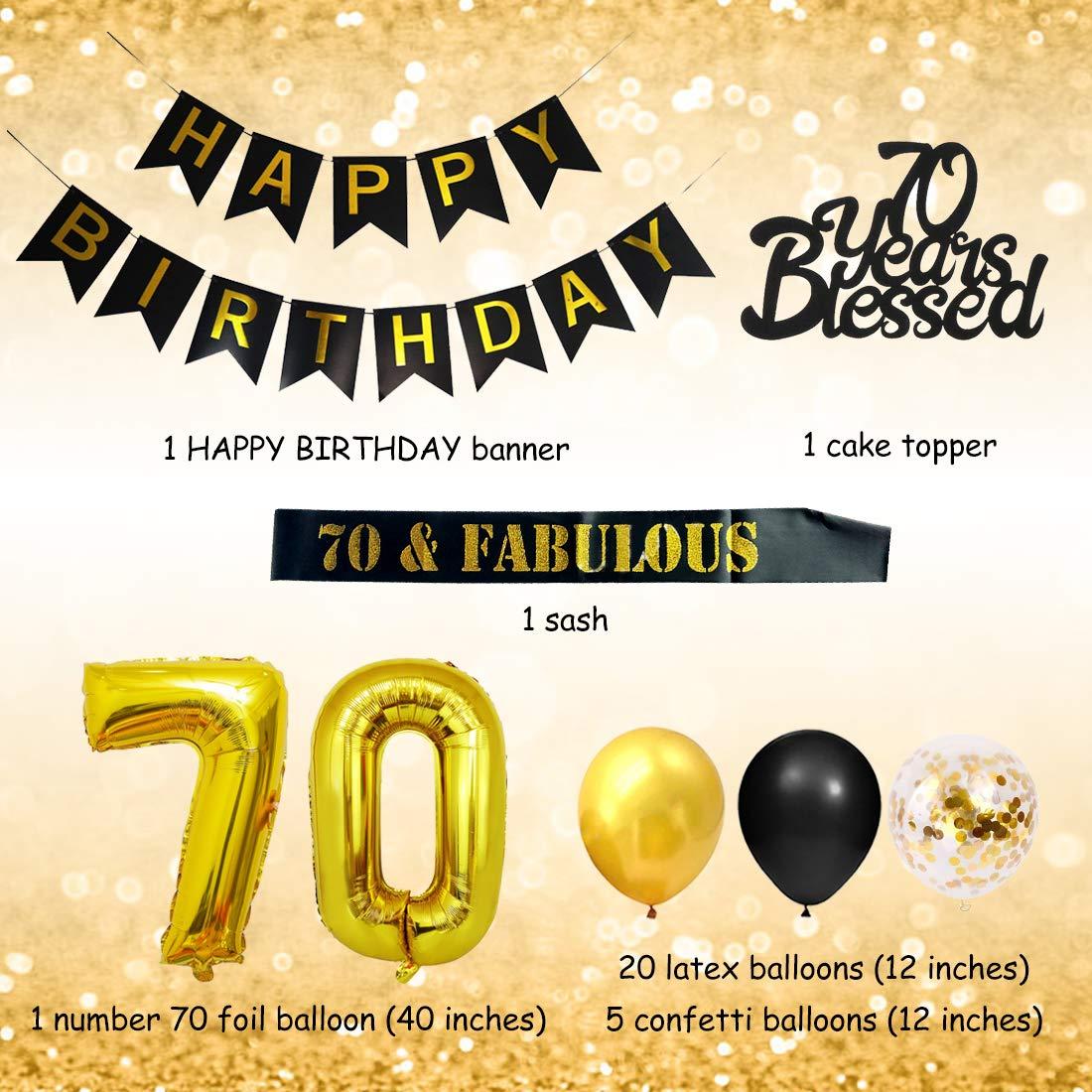 Kit de decoraciones de cumpleaños número 70 con el número 70 ...