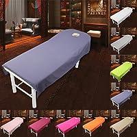 Cosmétique Salon Drap de lit Housse Spa Massage Traitement Table de lit Motif feuilles avec trou (9couleurs)