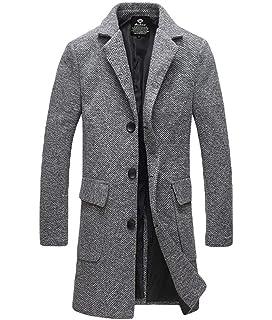 Herren Mantel Jacke Langarm Einfarbig Revers Einreihig Jungen Vordertaschen  Parka Fashion Trenchcoat Outerwear Jacket 7942487b4c