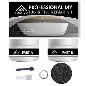 Tub Repair Kit White for Acrylic, Porcelain, Enamel & Fiberglass Tub Repair Kit for Sink, Shower & Countertop - Bathtub Refinishing Kit for Cracked Bathtub Scratches - Porcelain Repair Kit for Ceramic