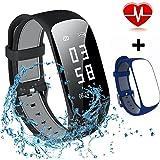 MOCRUX Fitness Armbanduhr HR Unisex Armband zur Herzfrequenz Fitness Tracker Smartwatch Aktivitätstracker Schrittzähler Armbanduhr Schlafanalyse Kalorienzähler Anruf/SMS Wasserdicht IP67
