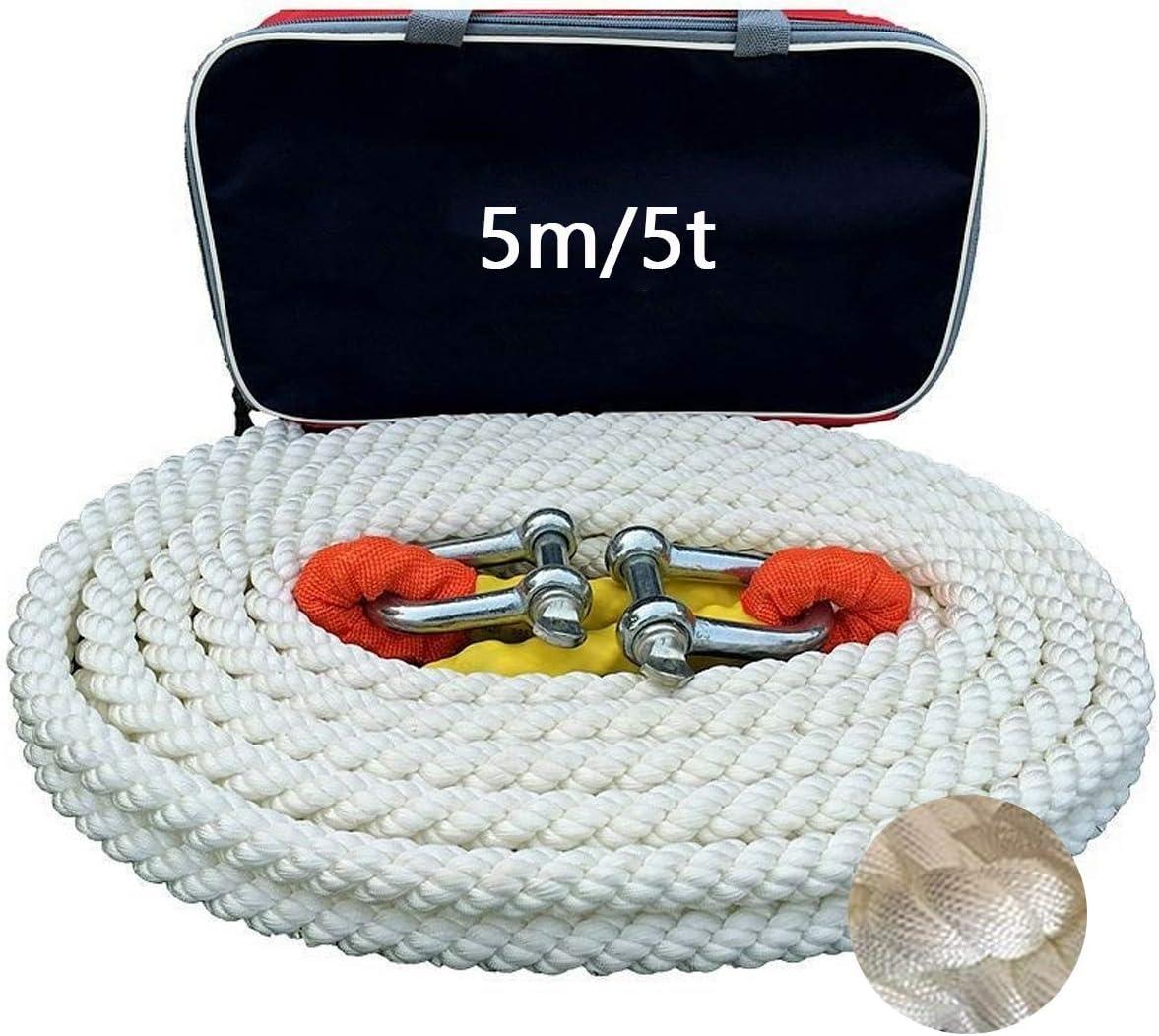 Maximale Zugkraft 5t//10t//15t Hochfestes Nylon-Abschleppseil Size : 5m//5t mit 2 Sicherheitshaken PKW PLUS 5m Abschleppseil