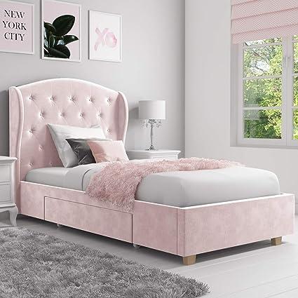 Astonishing Safina Wing Back Single Bed In Baby Pink Velvet With Spiritservingveterans Wood Chair Design Ideas Spiritservingveteransorg