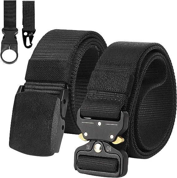 2 Piezas Cinturon Hombre Tactico Militar Correa de Nylon Ajustable Lona Hebilla Plástica y Hebilla Metal: Amazon.es: Ropa y accesorios