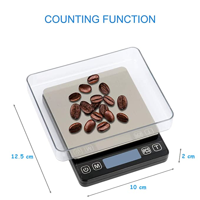 Báscula de cocina digital, báscula de precisión, báscula de alimentos multifunción de 3kg / 0,1g, plataforma de acero inoxidable, pantalla LCD, para cocina, ...
