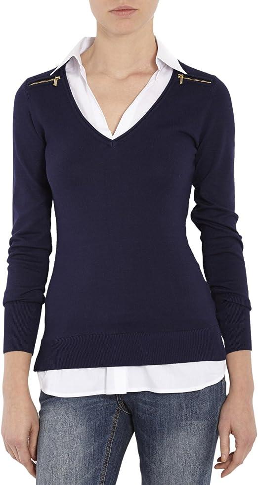 Jersey manga larga con cuello de camisa, color marino MORGAN