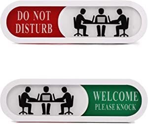 Do Not Disturb Welcome Please Knock Sign,Privacy Sign for Home Office Hotles Hospital Conference Room,Slider Door sign (Tells Whether Room Vacant or Occupied), 6.69'' x 1.96''