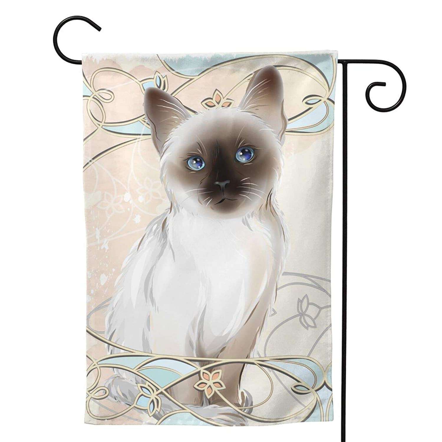 Siamese Cat Garden Flag Animal House Flag Vertical Double Sided Yard Outdoor Decor Party 12.5 X 18 Inch