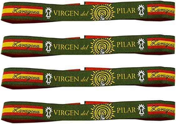 Pulsera Tela Virgen del Pilar - 4 Unidades - 30 X 1,50 CM: Amazon.es: Zapatos y complementos