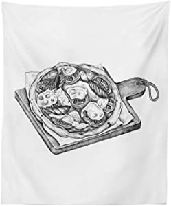"""Ambesonne Charcoal Grey Tapestry, Digitally Sketched Look of a Stone Oven Pizza Tasty Ingredients Illustration, Fabric Wall Hanging Decor for Bedroom Living Room Dorm, 23"""" X 28"""", White"""