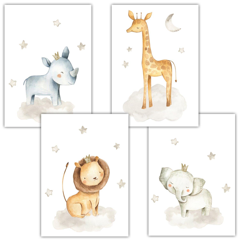 Frechdax 4er Set Kinderzimmer Babyzimmer Poster Bilder Din A4