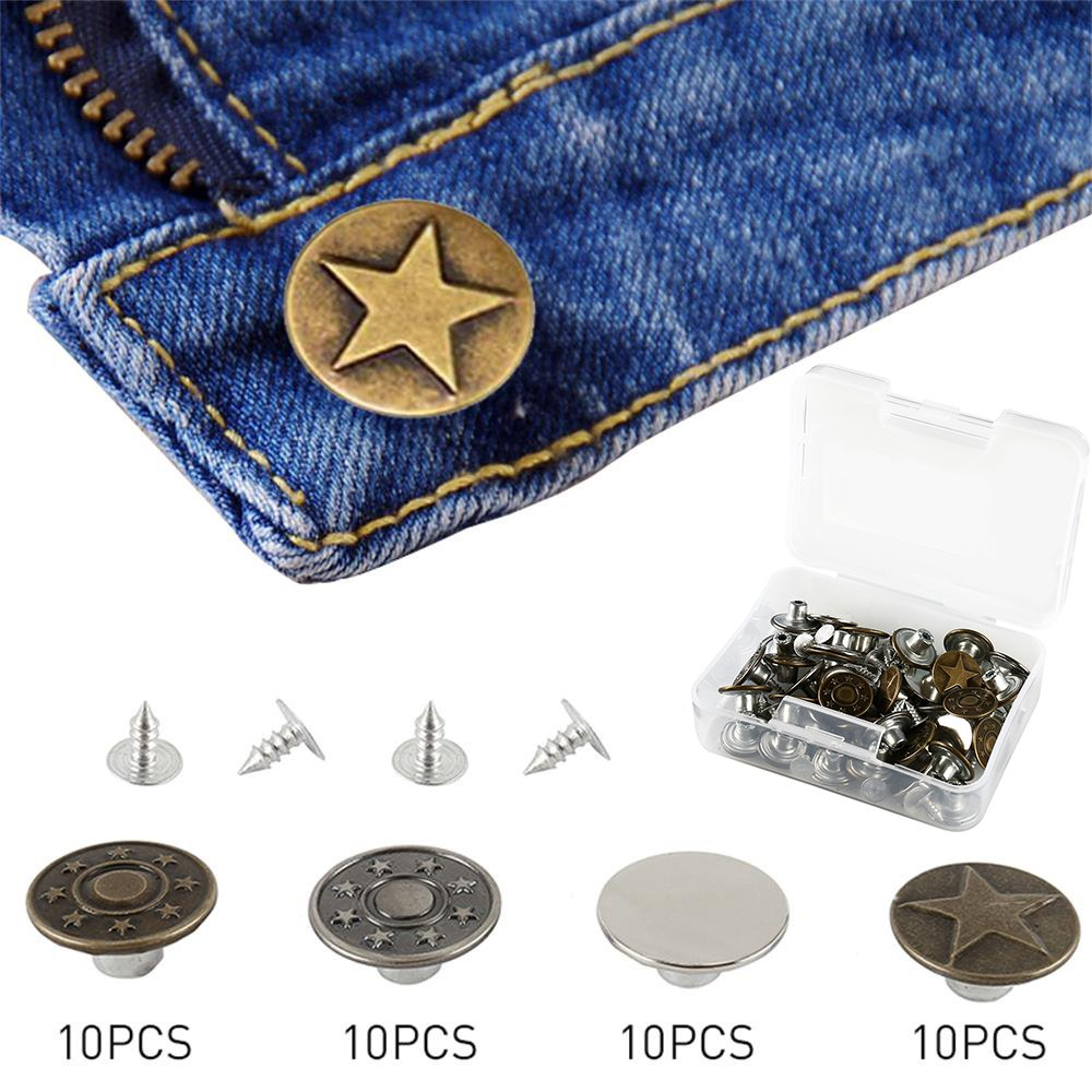 Enjoygous 40 Sets Jeans Rivet Button Tack Snap Fasteners Leather Craft Buttons Metal Replacement Kit Clothing Repairing Press Studs With Storage Box for Pants, 4 Styles, 12.5 mm In Diameter