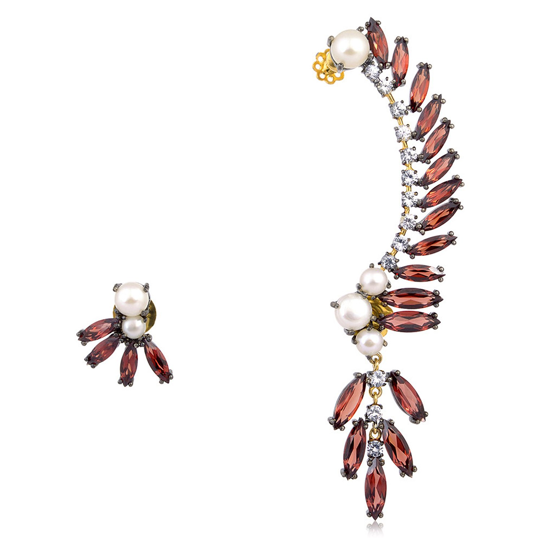 Garnet Cultured Pearl & White Sapphire Ear Crawler Climber Earrings in 18K Yellow Gold & Sterling Silver
