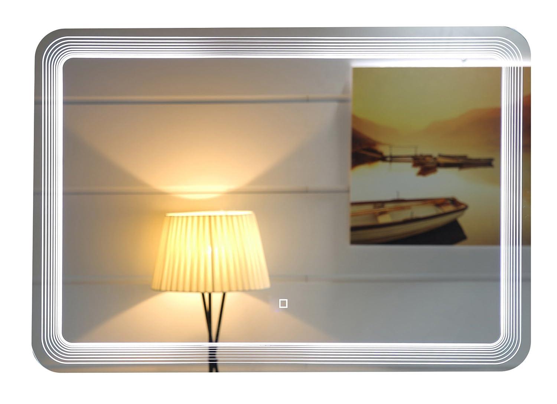 Design LED-Beleuchtung Badspiegel GS086 Lichtspiegel Wandspiegel mit Touch-Schalter Tageslichtweiß IP44 (120 x 60 cm)