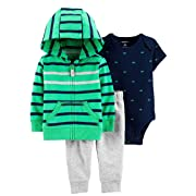 Carter's Baby Boys' 3-Piece Little Jacket Sets (Green Multi, 3 Months)