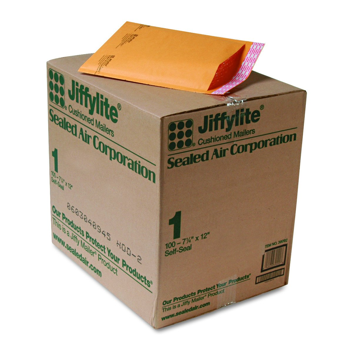 Quality Park Sealed Air Jiffy Lite Cushioned Mailers, Self Seal, 1, 7.25 x 12 Inches, Pack of 100 (SEL39092)