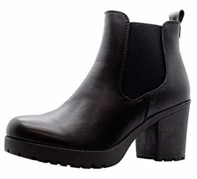 SAUTE STYLES Ladies Womens Block Chunky Heels Chelsea Ankle Boots Grip Sole  Office Shoes Size 7