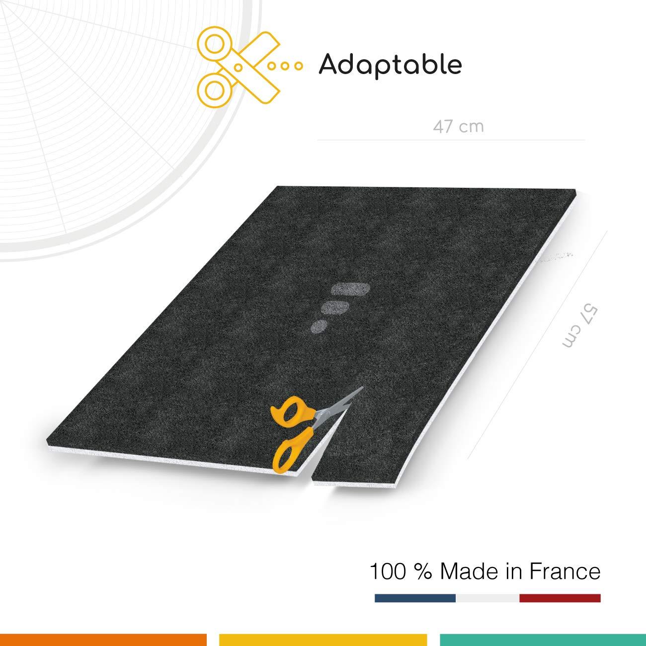 nero Filtro al carbone attivo Universale 47x57 cm per Cappa aspirante aspirante bianco 2 strati