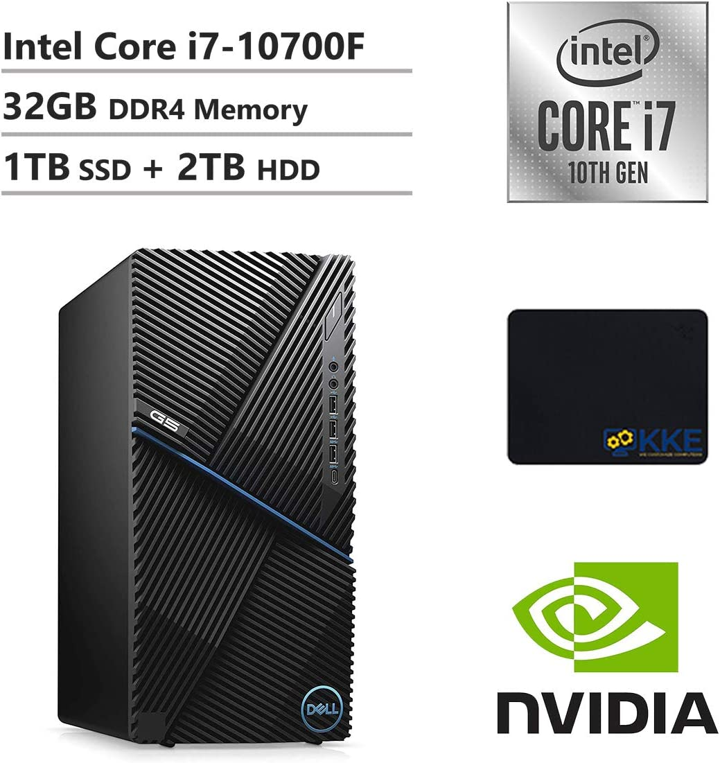 Dell G5 Gaming Desktop, Intel Core i7-10700F, 32GB DDR4 Memory, 1TB PCIe Solid State Drive + 2TB HDD, NVIDIA GeForce GTX 1660 Ti, WiFi, HDMI, KKE Mousepad, Wired Keyboard&Mouse, Windows 10