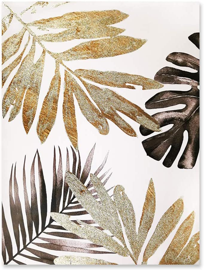 "Fabulous Décor - Large Gold Silver Brown Leaves Hand-Painted Artwork Canvas Oil Painting Wall Art for Home Office Decoration 23.6""X31.5"""