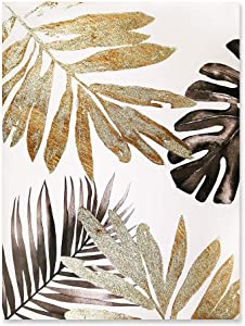 """Fabulous Décor - Large Gold Silver Brown Leaves Hand-Painted Artwork Canvas Oil Painting Wall Art for Home Office Decoration 23.6""""X31.5"""""""