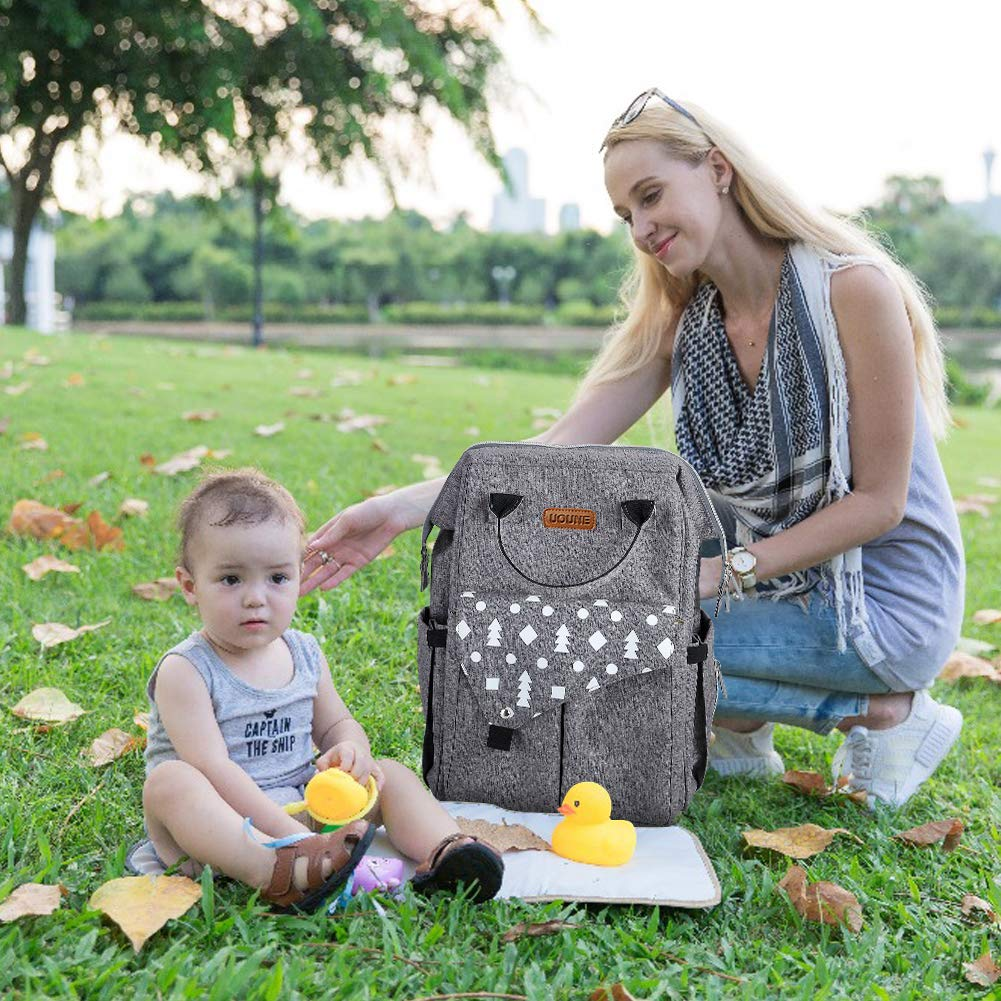 USB Charging Port /& Stroller Straps /& Changing Mat UOUNE Baby Nappy Diaper Backpack with Wide Open Grey Lightweight and Waterproof Rucksack for Mon and Dat Baby Changing Bag