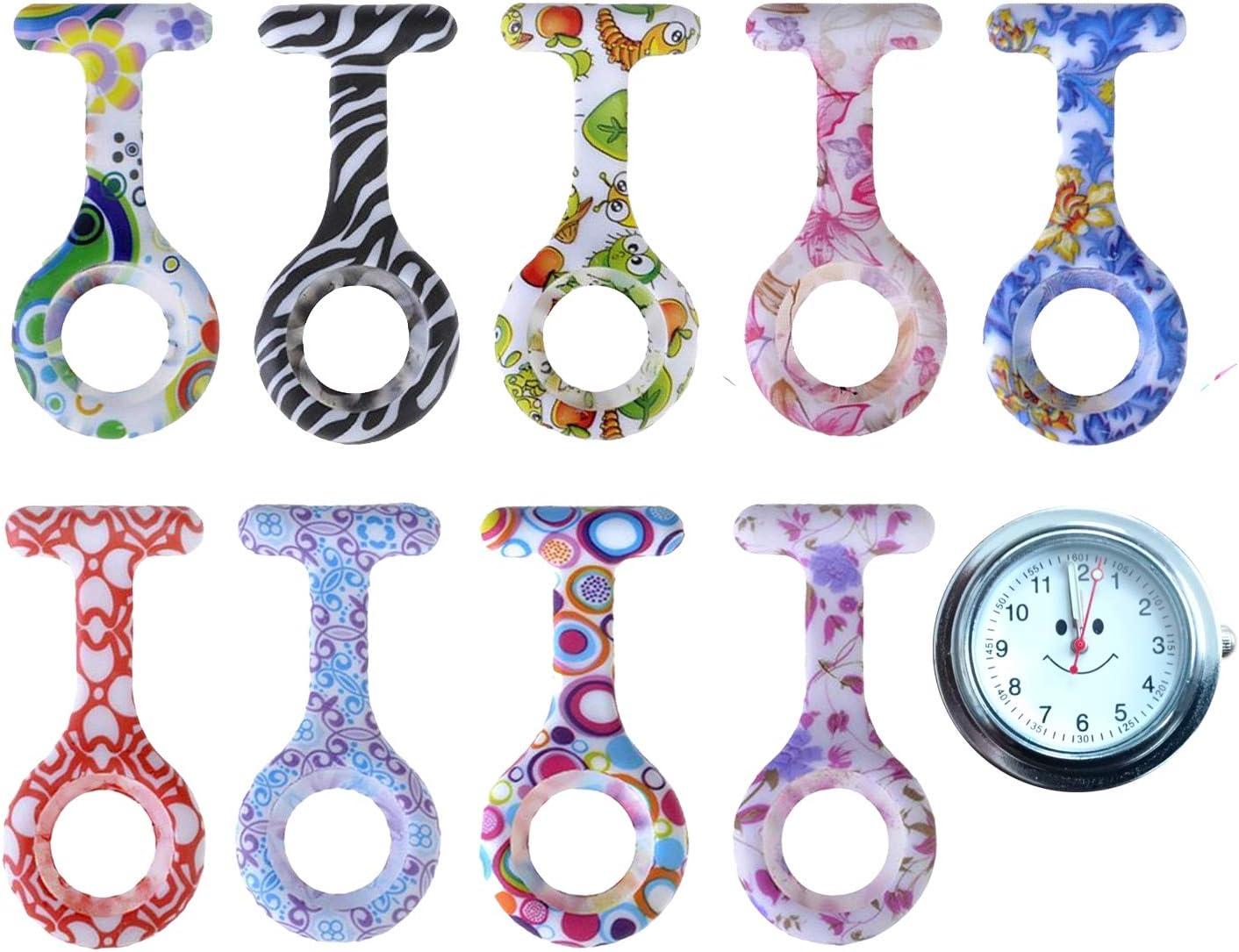 Tiga Med 9Diseño Set Tiga Med con batería de gran calidad (1x Reloj + 9Diseño Silicona Fundas) Bata Reloj Enfermera Reloj