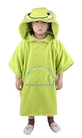 Winthome Poncho Toalla con Capucha para Cambiarse,Niños Poncho de Baño (Hippo-Verde